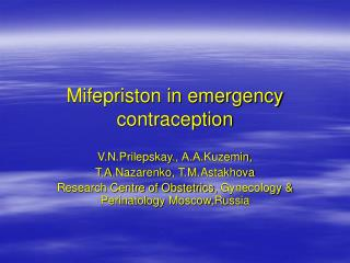 Mifepriston in emergency contraception