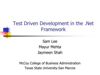 Test Driven Development in the .Net Framework