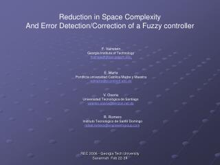 Reduction in Space Complexity  And Error Detection/Correction of a Fuzzy controller