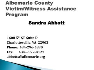 Albemarle County Victim/Witness Assistance Program