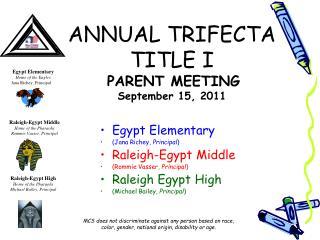ANNUAL TRIFECTA TITLE I   PARENT MEETING  September 15, 2011
