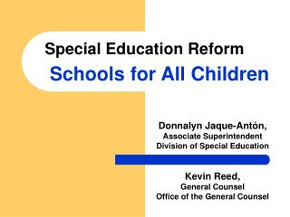 Special Education Reform