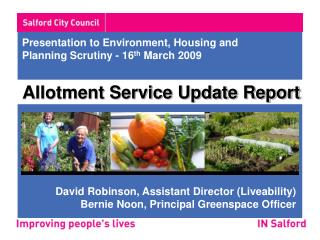 Presentation to Environment, Housing and Planning Scrutiny - 16 th  March 2009