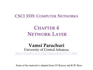 CSCI 3335: Computer Networks Chapter 4  Network Layer