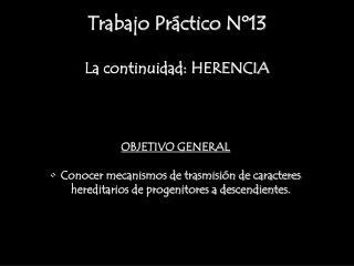 Trabajo Práctico Nº13 La continuidad: HERENCIA