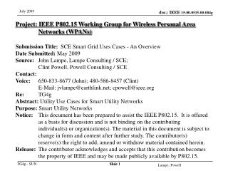 Project: IEEE P802.15 Working Group for Wireless Personal Area Networks WPANs  Submission Title:  SCE Smart Grid Uses Ca
