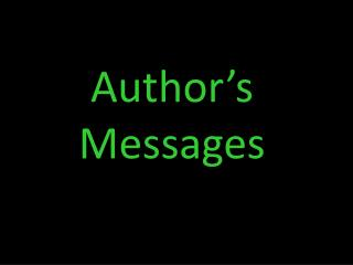 Author�s Messages