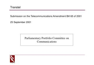 Submission on the Telecommunications Amendment Bill 65 of 2001