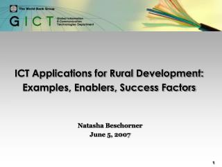 ICT Applications for Rural Development: Examples, Enablers, Success Factors