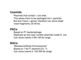 Cosmids : Plasmids that contain  l  cos sites.