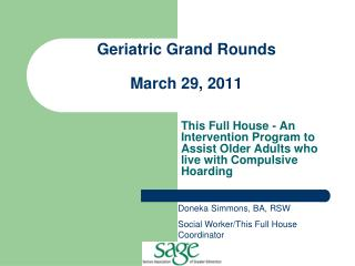 Geriatric Grand Rounds March 29, 2011