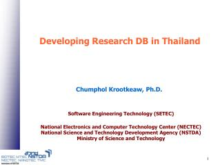 Developing Research DB in Thailand