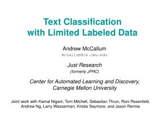 Text Classification with Limited Labeled Data