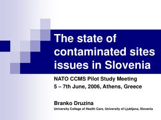 The state of contaminated sites issues in Slovenia