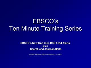 EBSCO's  Ten Minute Training Series