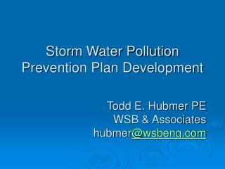 Storm Water Pollution Prevention Plan Development