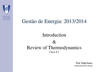 Gestão de Energia: 2013/2014
