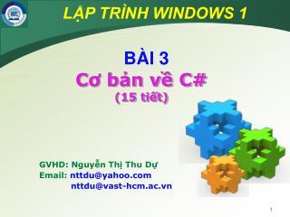 GVHD: Nguyễn Thị Thu Dự Email:  nttdu@yahoo   nttdu@vast-hcm.ac.vn