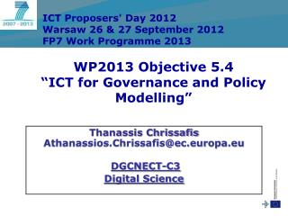 """WP2013 Objective 5.4  """"ICT for Governance and Policy Modelling"""""""