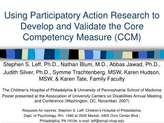 Using Participatory Action Research to Develop and Validate the Core Competency Measure CCM