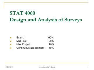 STAT  4060  Design and Analysis of Surveys