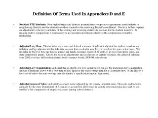 Definition Of Terms Used In Appendices D and E
