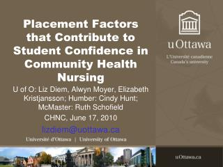Placement Factors that Contribute to Student Confidence in Community Health Nursing