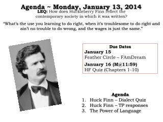 Agenda ~  Monday,  January  13, 2014