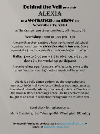 at The Grange, 3201 Limestone Road, Wilmington, DE Workshop :   1:00 to 3:00 pm -- $30