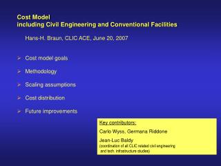 Cost Model  including Civil Engineering and Conventional Facilities
