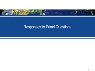 Responses to Panel Questions