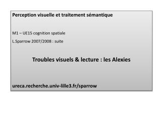 Perception visuelle et traitement sémantique M1 – UE15 cognition spatiale