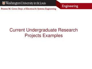 Current Undergraduate Research Projects Examples