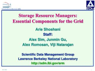 Storage Resource Managers: Essential Components for the Grid Arie Shoshani Staff: