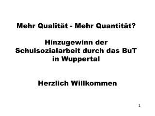 Mehr Qualität - Mehr Quantität? Hinzugewinn  der Schulsozialarbeit durch das  BuT  in Wuppertal