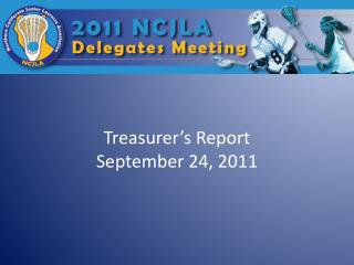 Treasurer's Report September 24, 2011