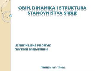 Obim, dinamika i struktura  stanov n i�tva srbije
