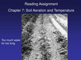 Reading Assignment Chapter 7: Soil Aeration and Temperature