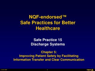 Safe Practice 15 Discharge Systems