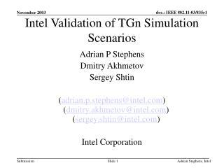 Intel Validation of TGn Simulation Scenarios