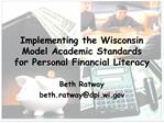 Implementing the Wisconsin Model Academic Standards for Personal Financial Literacy
