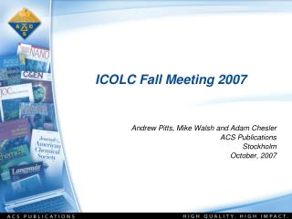 ICOLC Fall Meeting 2007