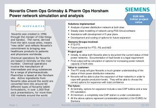 Novartis Chem Ops Grimsby & Pharm Ops Horsham Power network simulation and analysis