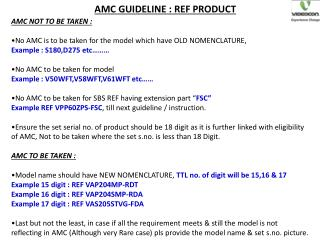 AMC GUIDELINE : REF PRODUCT