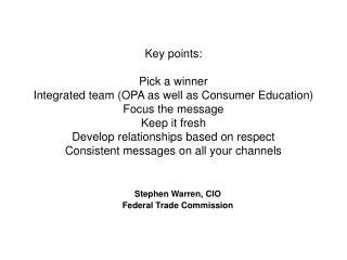 Stephen Warren, CIO  Federal Trade Commission