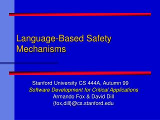 Language-Based Safety Mechanisms