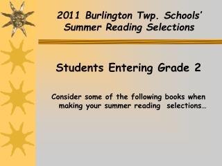 2011 Burlington Twp. Schools'  Summer Reading Selections