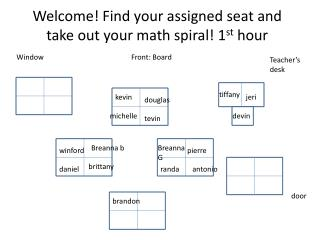 Welcome! Find your assigned seat and take out your math spiral! 1 st  hour