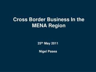 Cross Border Business In the MENA Region