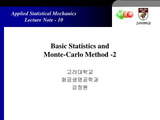 Basic Statistics and  Monte-Carlo Method -2